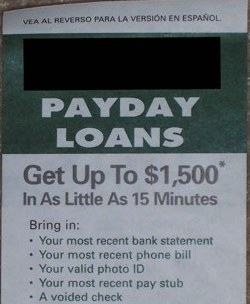 Local Payday Loan Flier